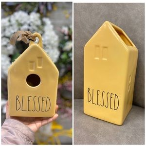 rae dunn blessed birdhouse and blessed vase